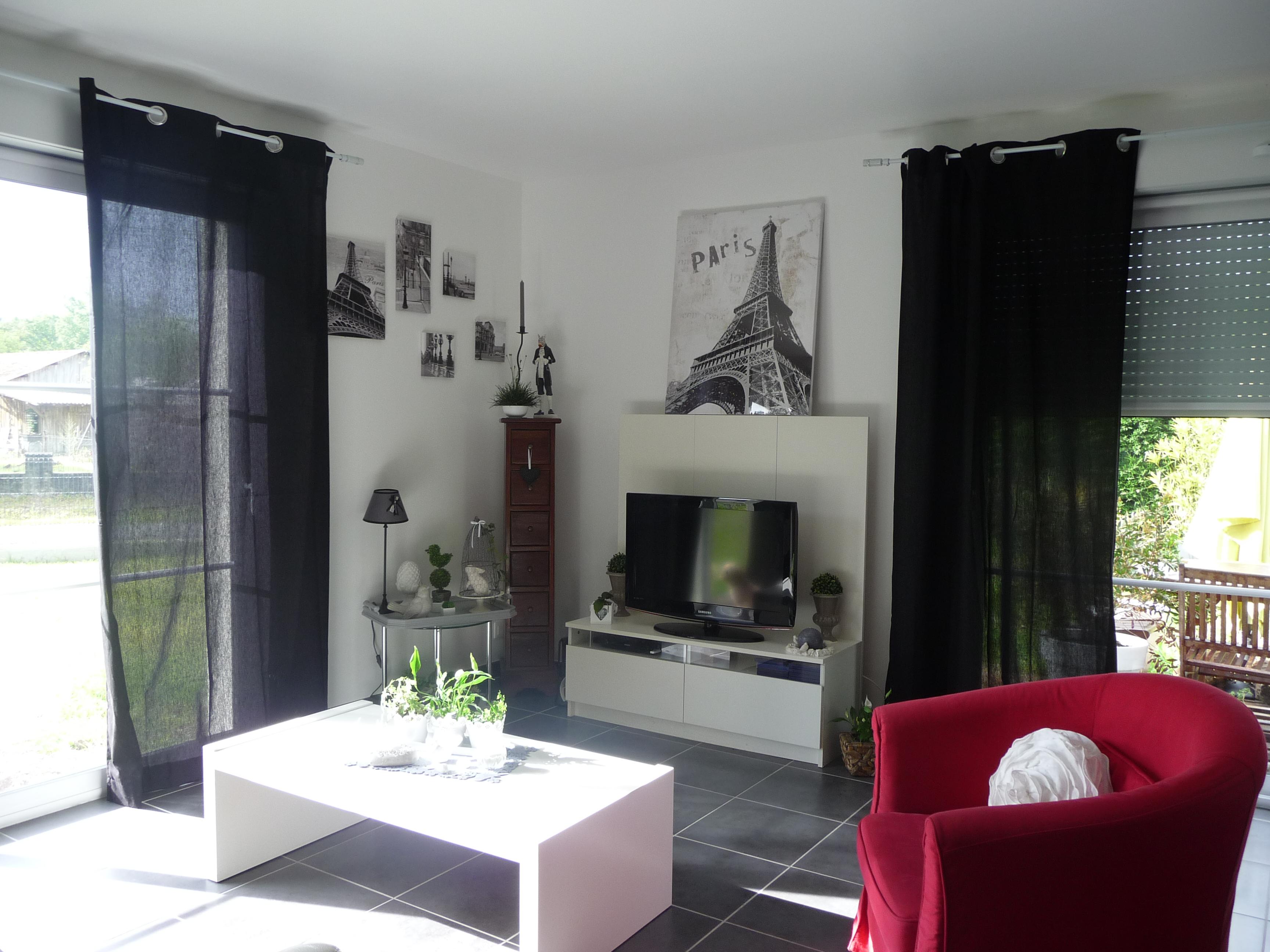 Décoration salon noir et blanc rose - Design en image