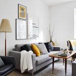 Decoration salon gris et jaune