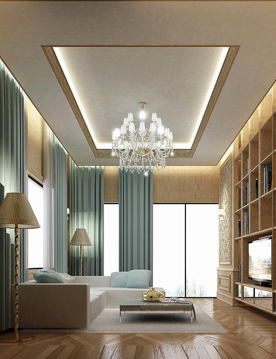 Decoration plafond salon en placoplatre - Design en image