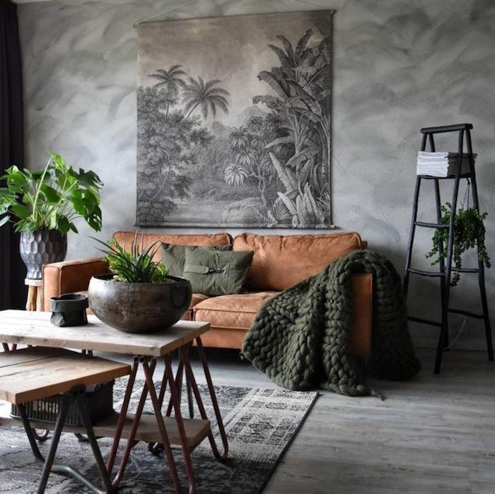 Decoration salon avec canape marron - Design en image
