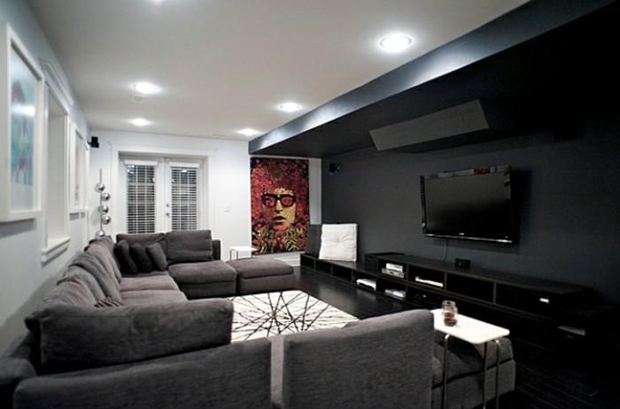Decoration salon noir gris - Design en image
