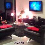 Décoration salon noir et blanc rouge