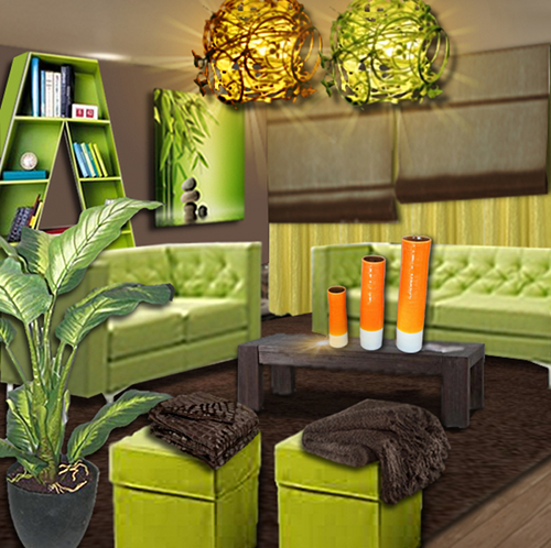 Decoration salon vert anis blanc
