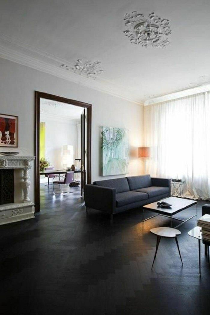 Decoration salon sol gris fonce - Design en image