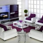 Decoration salon moderne violet