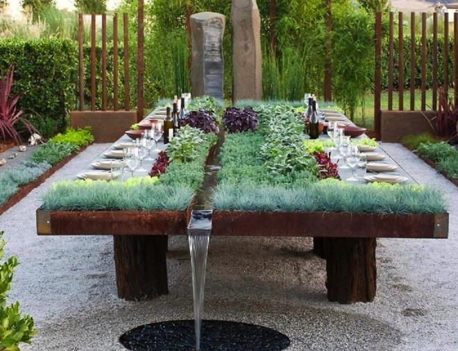 Décoration sur table de jardin - Design en image
