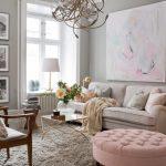 Décoration salon gris rose