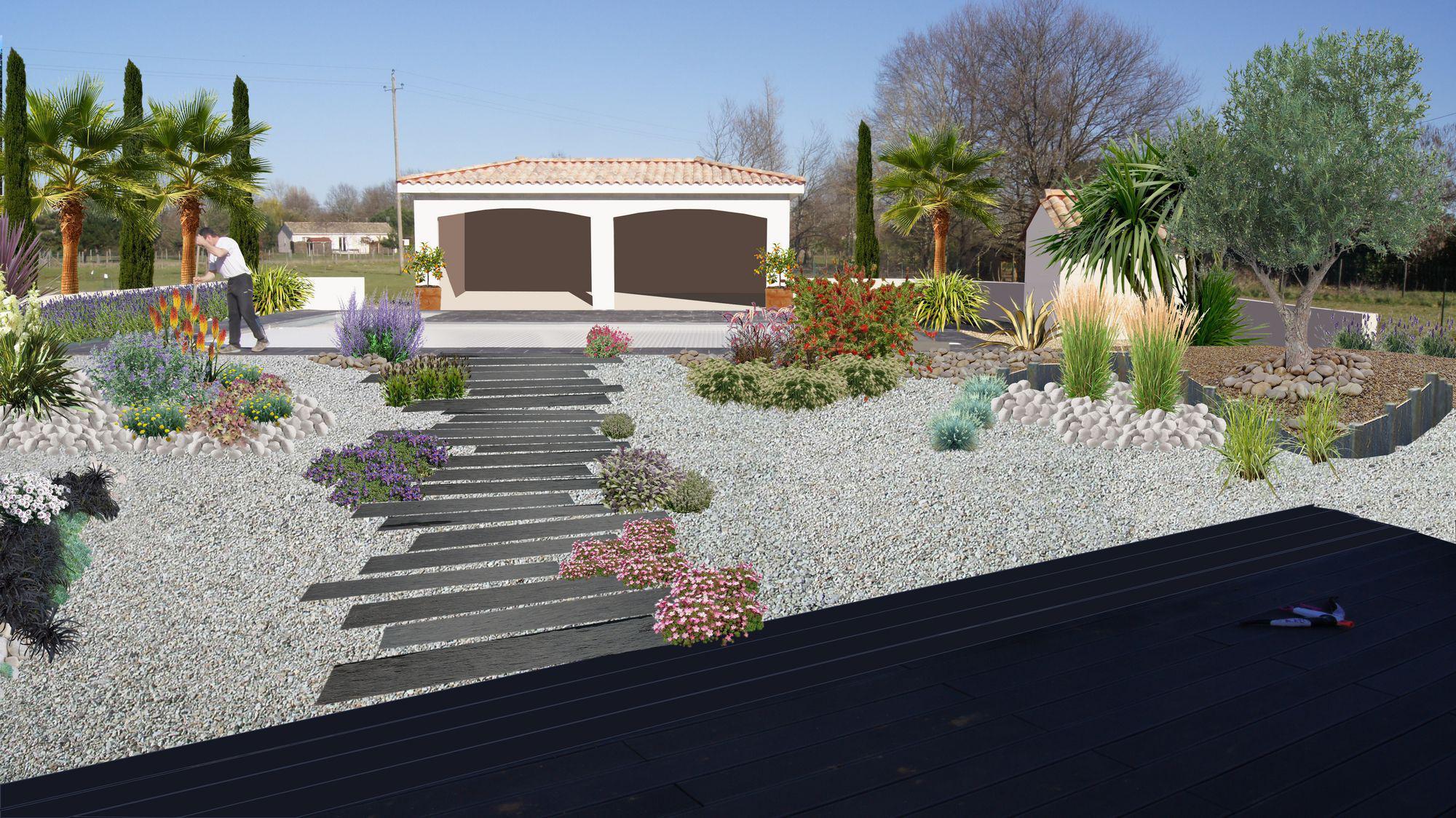 Decoration jardin autour d'une piscine