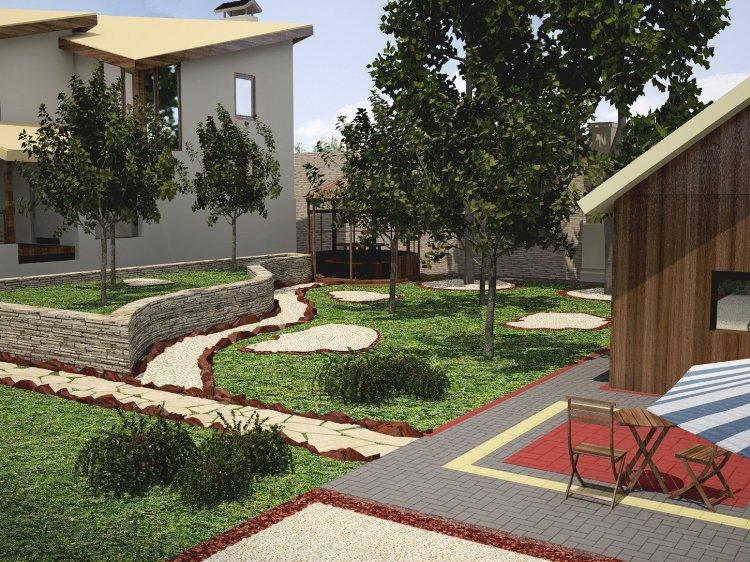 Jardin et décoration 3d extérieure
