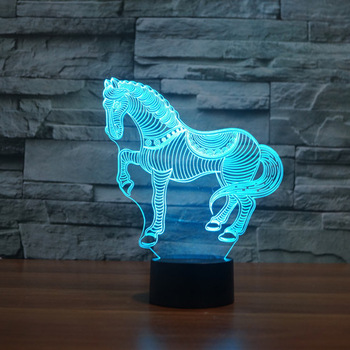 Lampe led illusion 3d design cheval