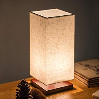 Lampe de chevet bois carré