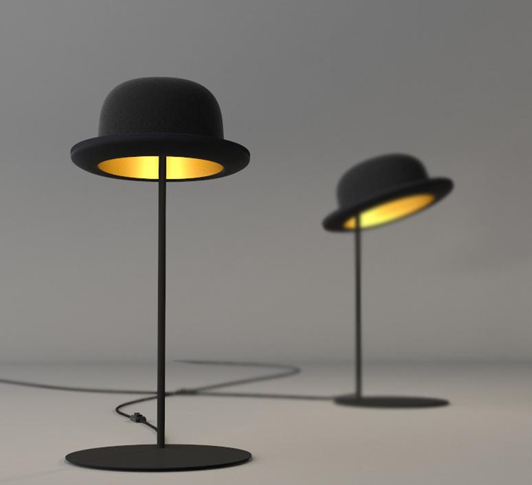Lampe halogène design chapeau melon
