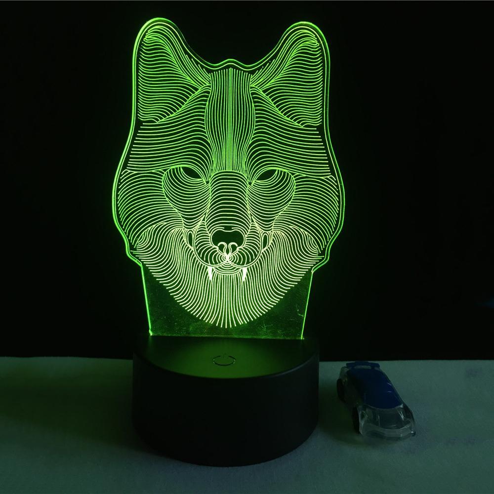 Lampe de chevet motif loup