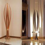 Lampadaire halogene rustique bois