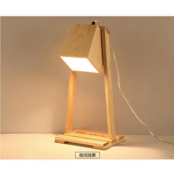 Lampe à poser en bois led design original art,style scandinave