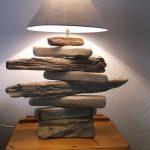 Lampe de chevet avec bois flotté et tissu