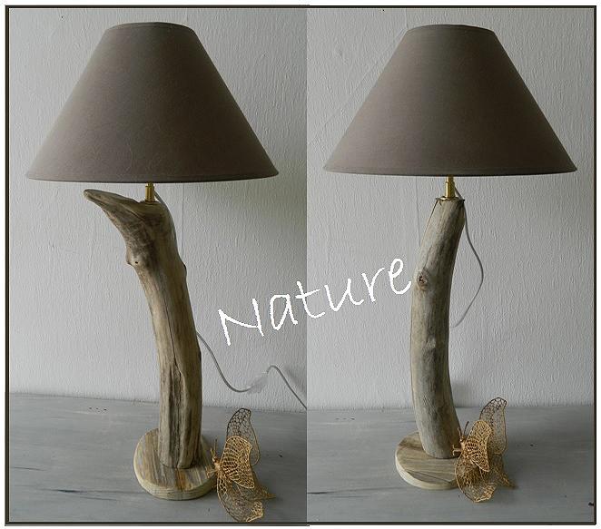 Petite lampe de chevet bois flotté