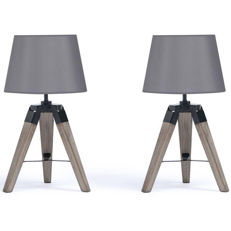 Lampe de chevet trépied bois