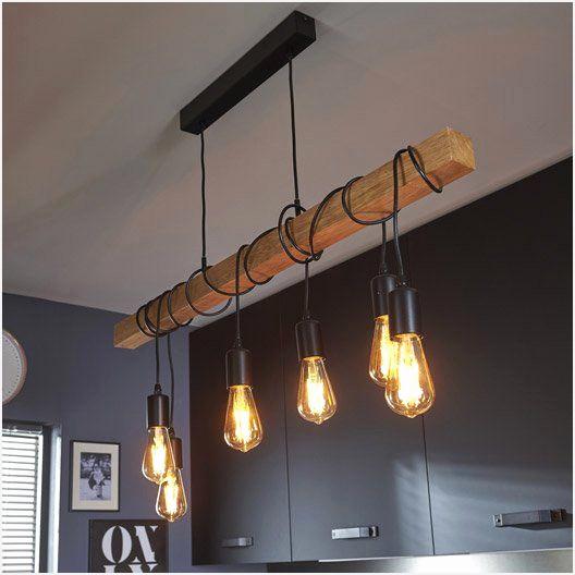 Lampe suspension bois design