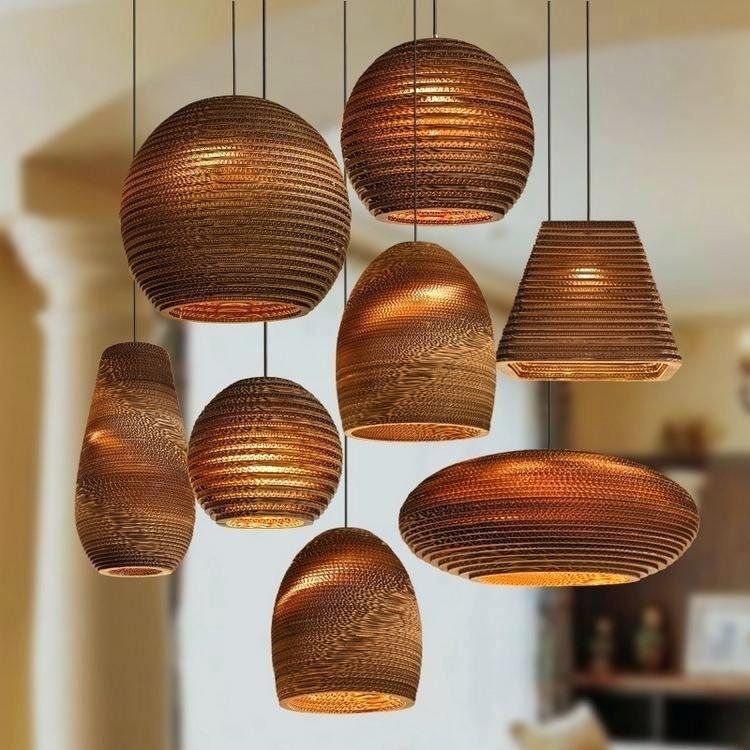 Lampe plafond design bois