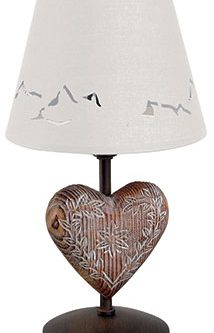 Lampe de chevet coeur bois